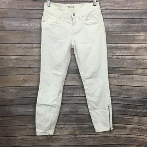 Madewell White Ankle Zip Jeans